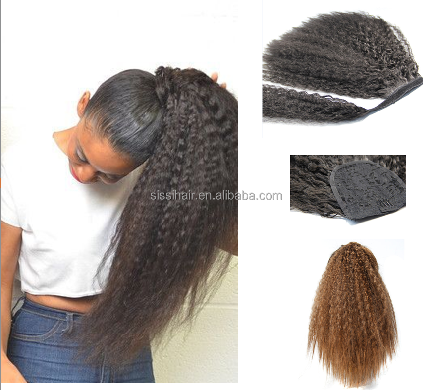 "18"" 150g Synthetic Heat Resistance Japanese Fiber Kinky Curly Fake drawstring ponytail synthetic Hair Extension"