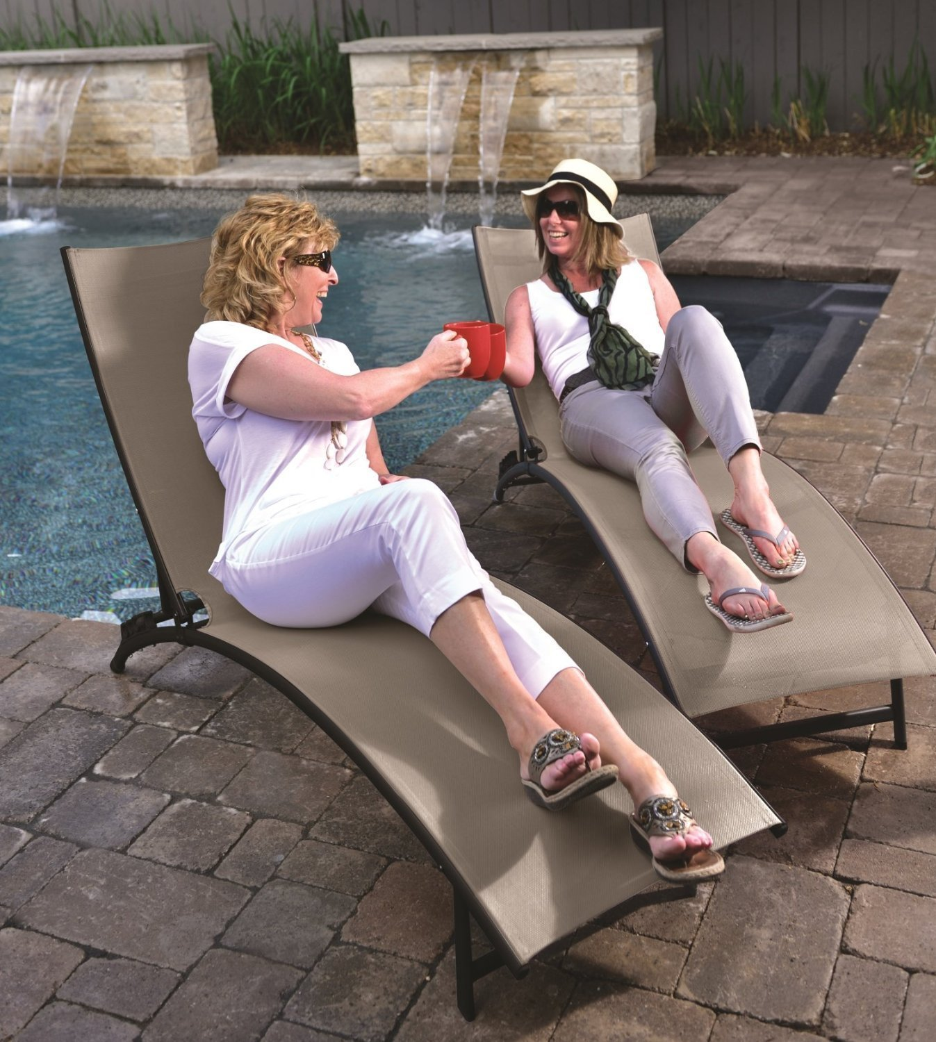 Get Quotations · Eclipse Collection Midtown Sun Lounger 3 Pc Set (2 Loungers,  1 Table)