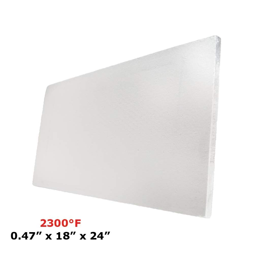 """Ceramic Fiber Insulation Board 2300 F 0.47"""" X 18"""" X 24"""" for Thermal Insulation in Wood Stoves, Fireplaces, Pizza Ovens, Kilns, Forges & More."""