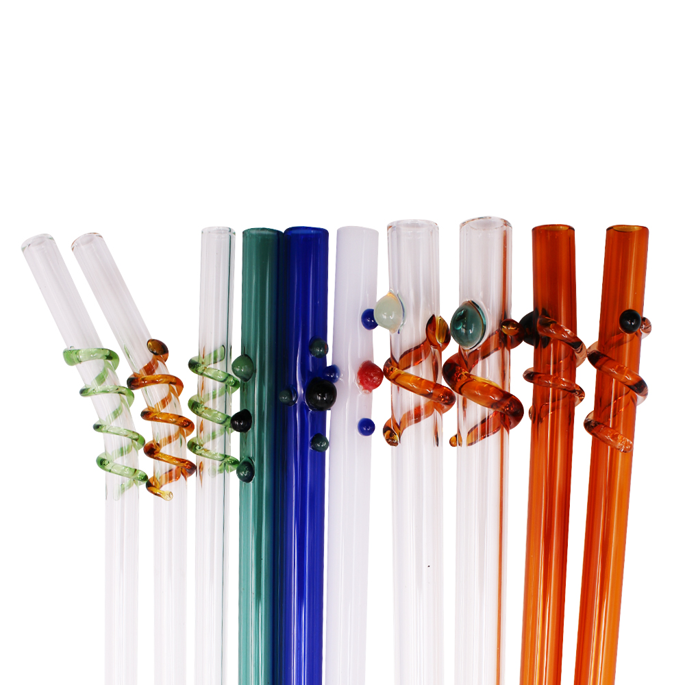 Free Sample Wine Accessories Borosilicate Glass Straw Pouch, Bpa Free Custom Drinking Glass Straws Reusable