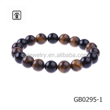 Custom Jewelry Diy Designs Handmade Mens Charms Gemstone Black Natural Onyx Tiger eye Stone Beaded Bead Bracelets