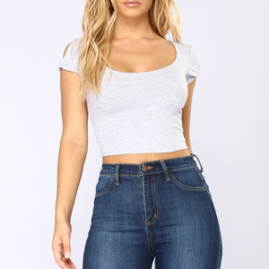 Women short sleeve low cut crop tops t-shirts