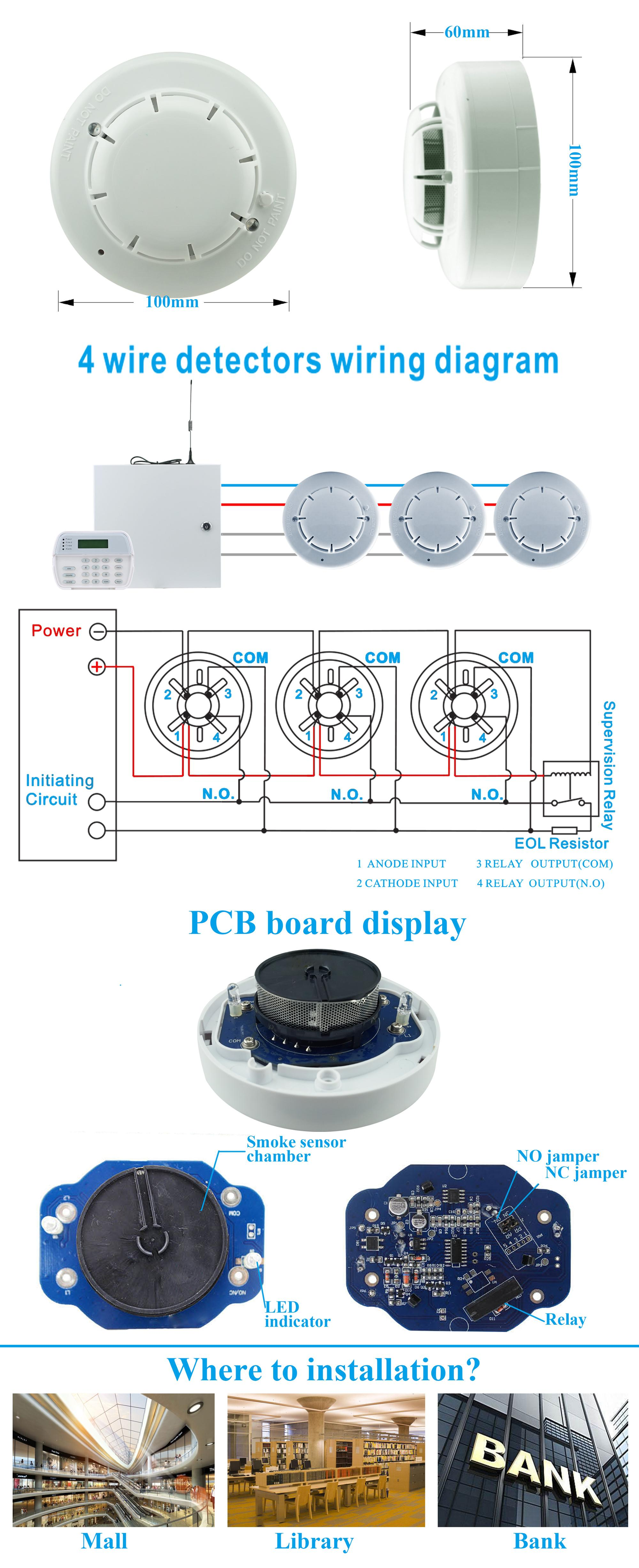 9 35v 4 Wired Fire Smoke Detector For Fire Panel And Alarm System