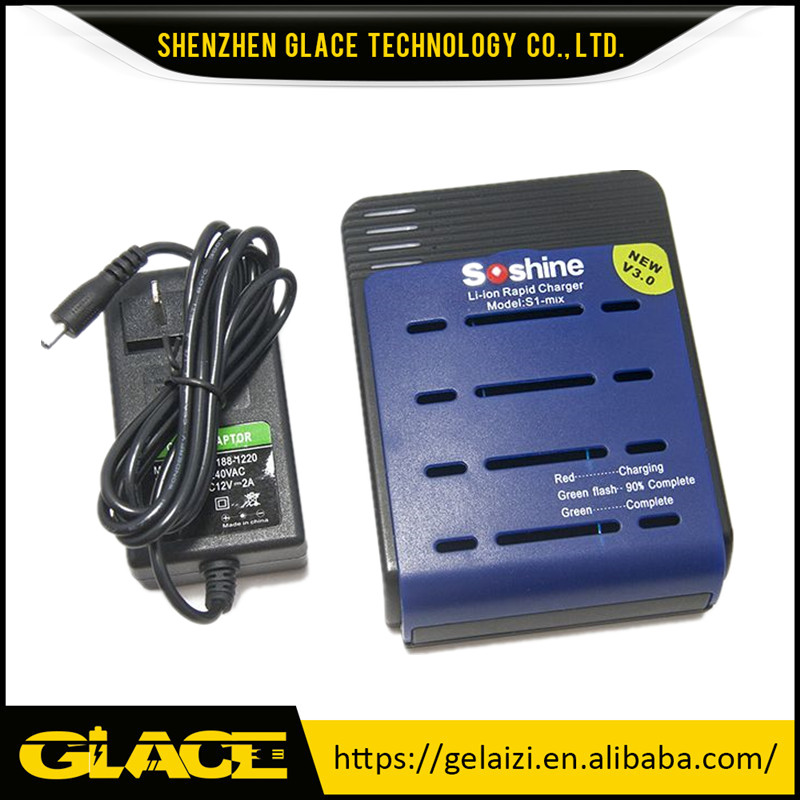 Soshine S1-Mix new v3.0 battery rapid charger with 4 Slots for 18650/16340 Li-ion Battery Smart Fast Charger