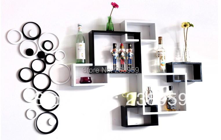 cube affichage en bois tag re murale conception accrocher. Black Bedroom Furniture Sets. Home Design Ideas