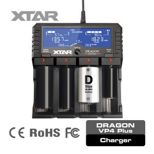 XTAR Dragon VP4 Plus high power li-ion USB output battery charger with USB output function for USB devices