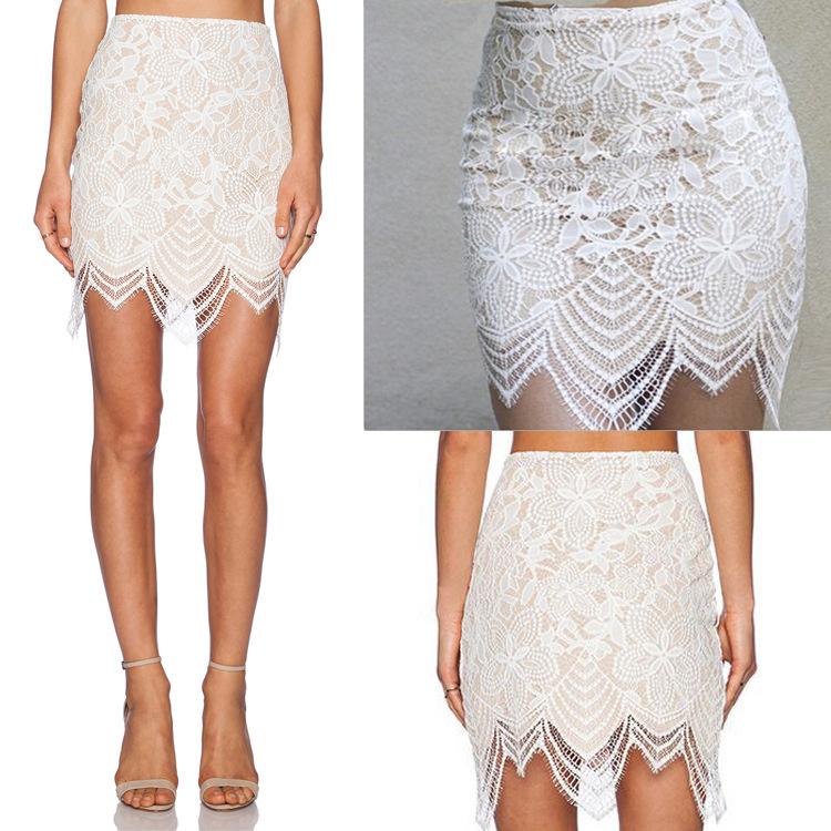 Хлопок и кружево женщины свободного покроя одежда лето стиль сексуальный белый кружево юбки с оборками Mini платье Clubwear
