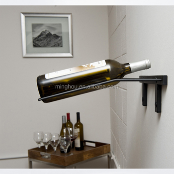 Wine Bottle Storage Rack Modern Metal Black Wall Mounted Beer Bottle