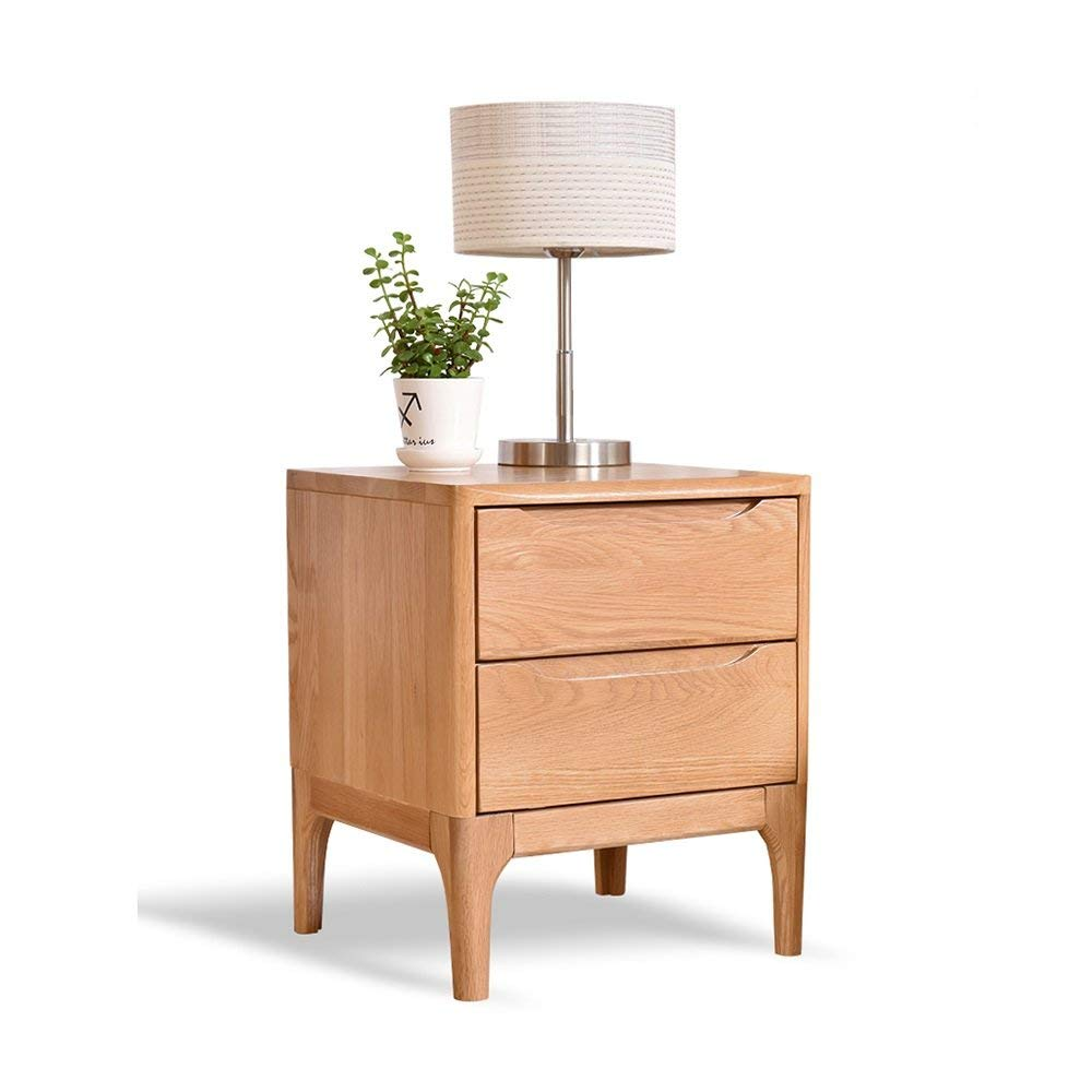 PM-Nightstands Solid Wood Bedside Cabinet Bedroom Bedside Cabinet Oak Cabinet Storage Lockers