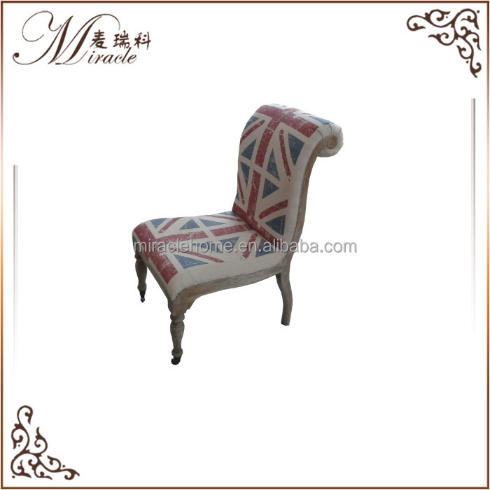 Handmade wooden furniture union jack fabric leisure chair