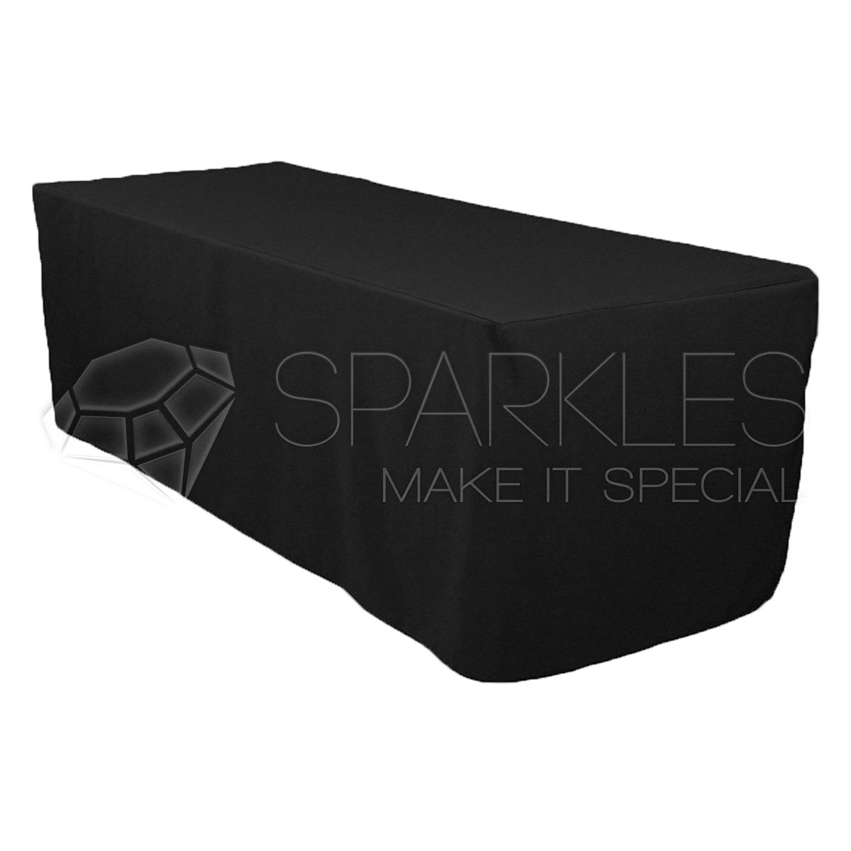 Sparkles Make It Special 10-pcs 8' ft Rectangular Fitted Polyester Cloth Fabric Linen Tablecloth - Wedding Reception Restaurant Banquet Party - Machine Washable - Black