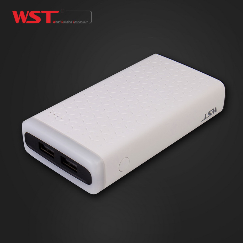China supplier 2 usb ports 10000mah li-polymer battery smart power bank with led torch