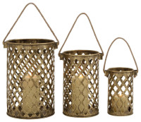 Modern And Classic Inspired Style Set Of Three Antique Metal Lantern Candle Holders Home Accent Decor