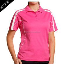 custom dri fit women pink polo shirt hot sale