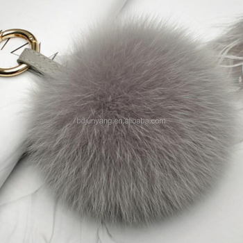 beautiful real fox fur pom pom with pu leather strap 12cm