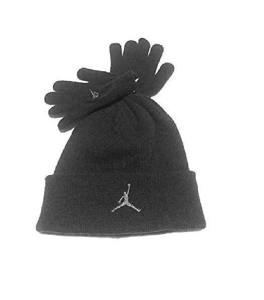 ab543c1a8e3dc Get Quotations · Nike Air Jordan Boys Winter Hat Beanie Cap Gloves Set  Black Grey 8 20