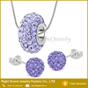 Factory Wholesale Fashion Stainless Steel Crystal Clay Paved Purple Necklace Jewellery Set