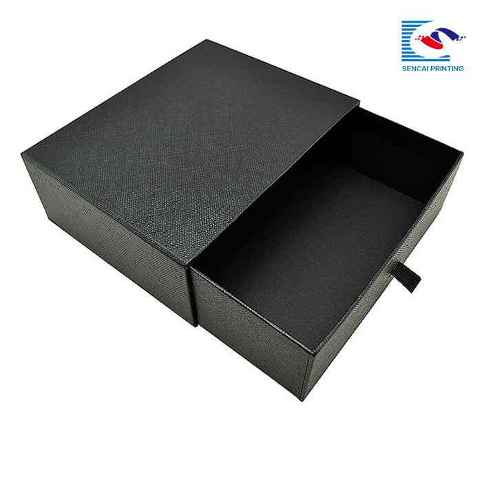 Wholesale black hair extension cardboard packaging drawer box with protector logo