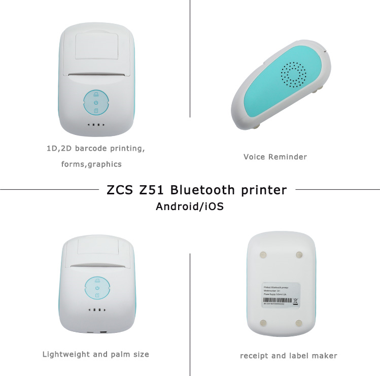 Portable Bluetooth Z51 58mm Small Receipt Label Thermal Printer for Retail Point of Sales System