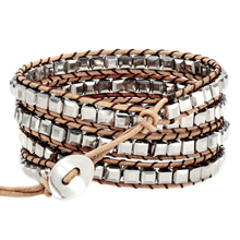 2016 popular unisex handmade wrap bracelet silver crystal beads 4 wraps on brown leather