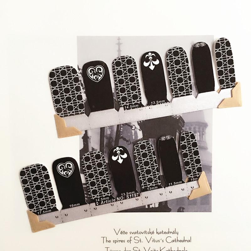 White Black Heart anchor Nail Arts Nail Sticker Waterproof Nail Decal Sticker Gel Polish French Manicure
