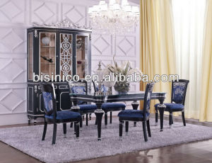 New Classical Dining Room Furniture Set - Dining Table, Dining Chairs, Hutch, Buffet, MOQ:1SET(B21446)