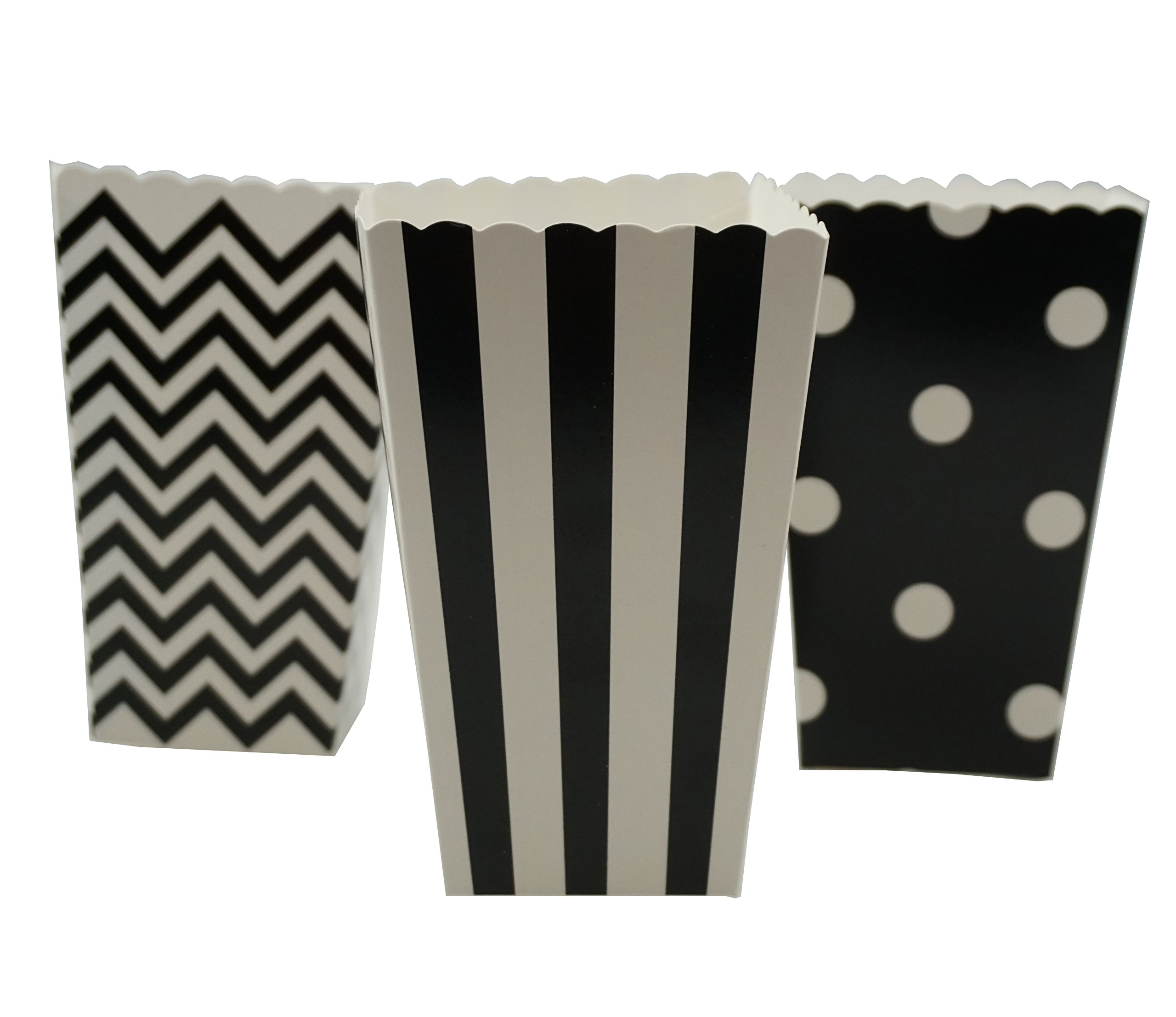 Bilipala Black Chevron Stripe and Polka Dot Paper Movie Popcorn Favor Boxes, 36 Counts