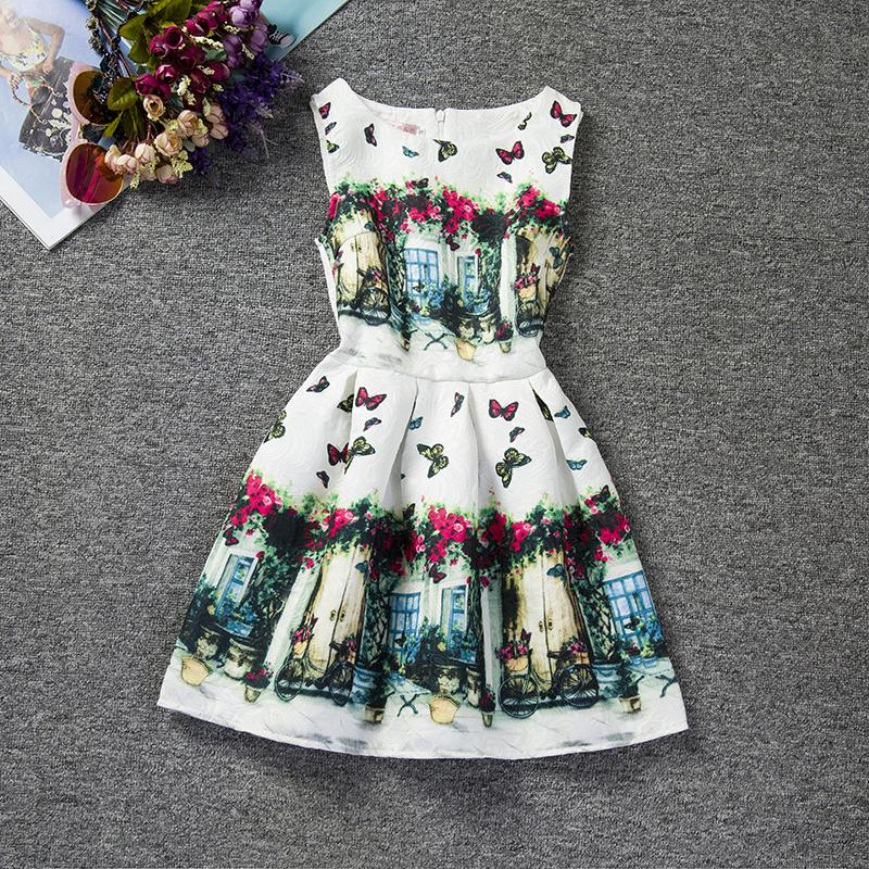 Vintage Baby Girls Dresses Floral Print Kids Party Dress