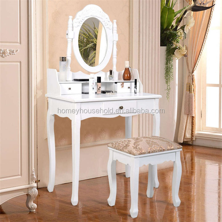 Household Furniture Wood White Vanity Set Oval Mirror 3 Drawers Dressing  Table With Cushion Stool - Buy Dressing Table Product On Alibaba