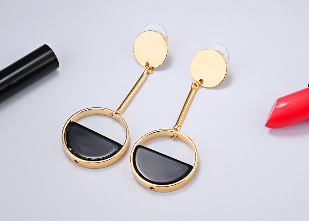 Turkish Jewelry Old Fashion Simple Gold Round Shape Designs Long Earrings Catalogue