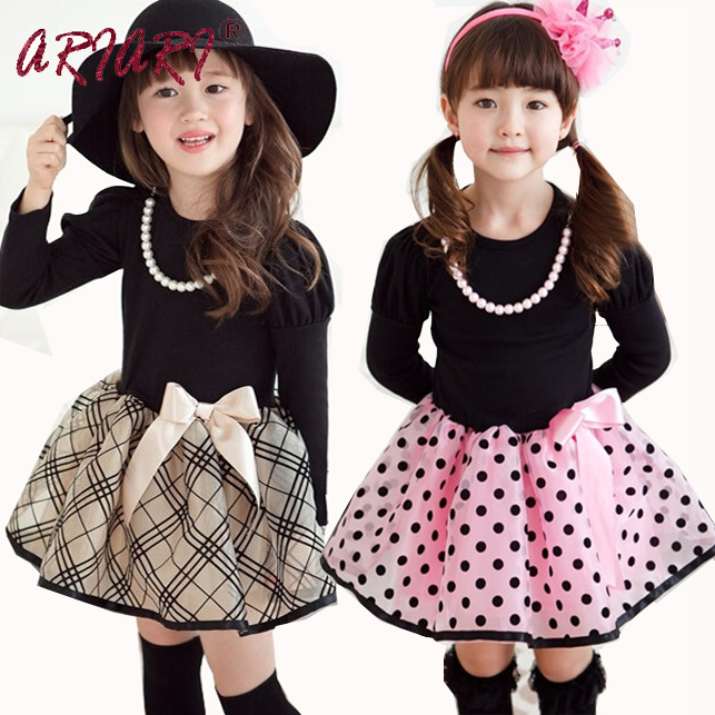 ARIARI 2016 New Arrival New Year Baby Girls Princess Long Sleeve Polka Dot Plaid Party font