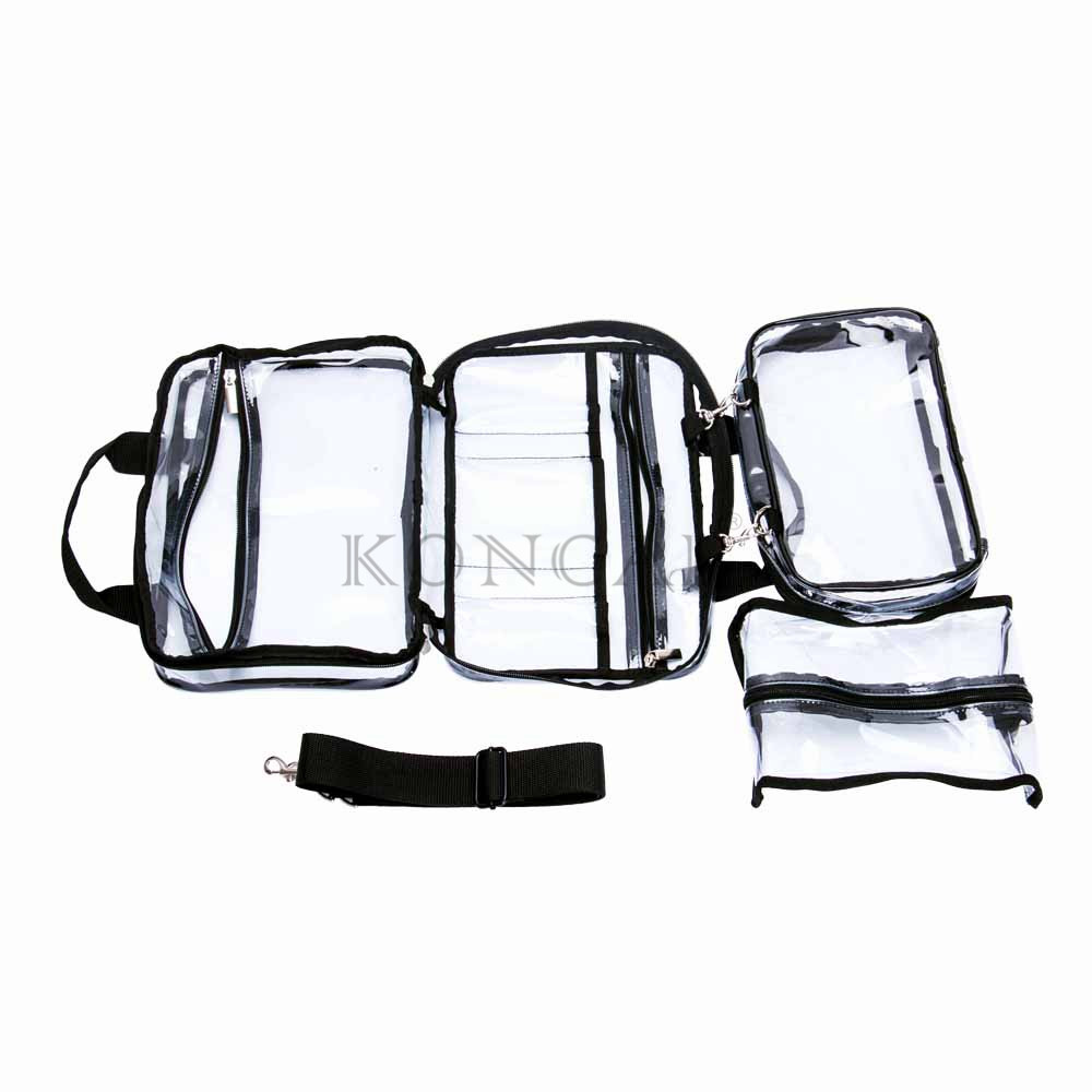 Transparent PVC Clear Crossbody Bag With Metal Zipper And Nylon Rope