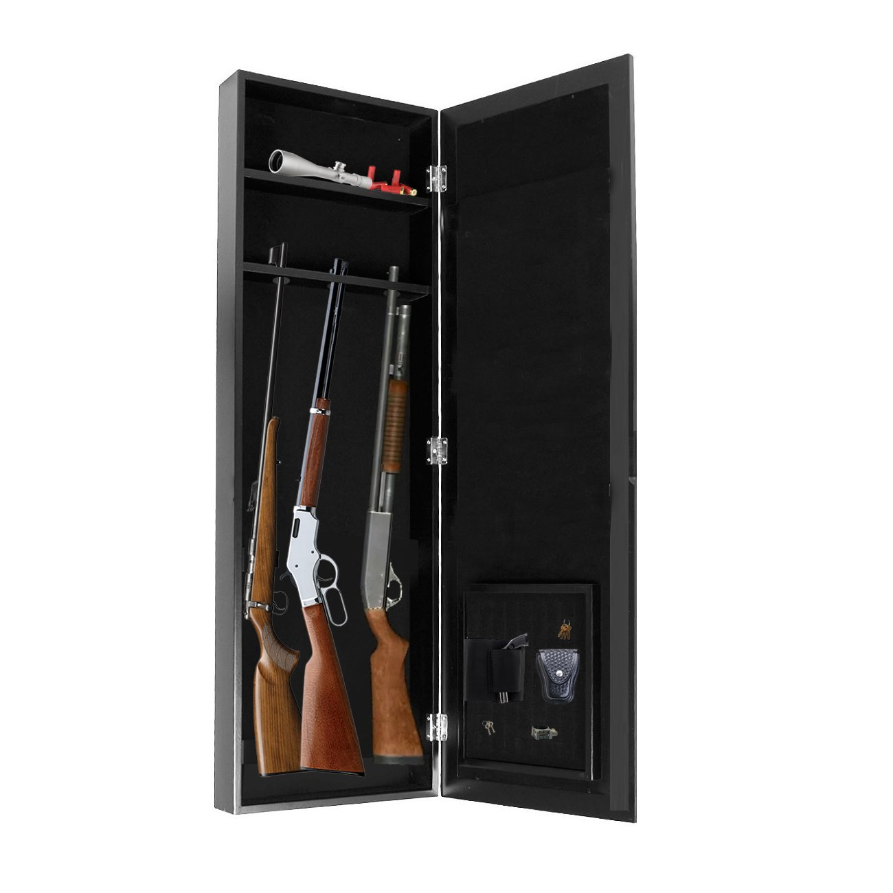 Get Quotations · Gun Cabinet Armoire Hidden In The Wall Mirror Rifle And  Pistol Safe (Holds Small 35.5