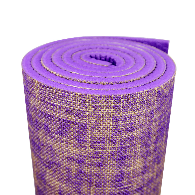 eco friendly indian custom logo 6mm jute yoga exercise mat with straps