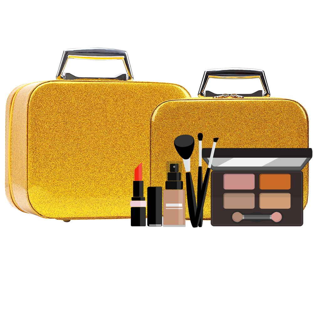 Glitter Makeup Organizer for Women/ Girls, Cute Bling Lighted Korean Makeup Brush Bag with Mirror, Portable luxury Vanity Travel Train Cosmetic Storage Bag / Case / Box - Gold (2 pcs/ pack)