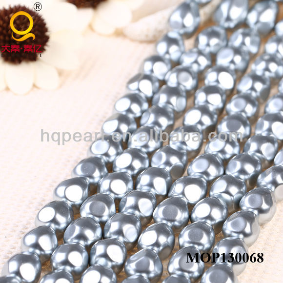 fashion shell jewellery 6*21mm silvery irregular sea shell loose mabe pearls for jewelry