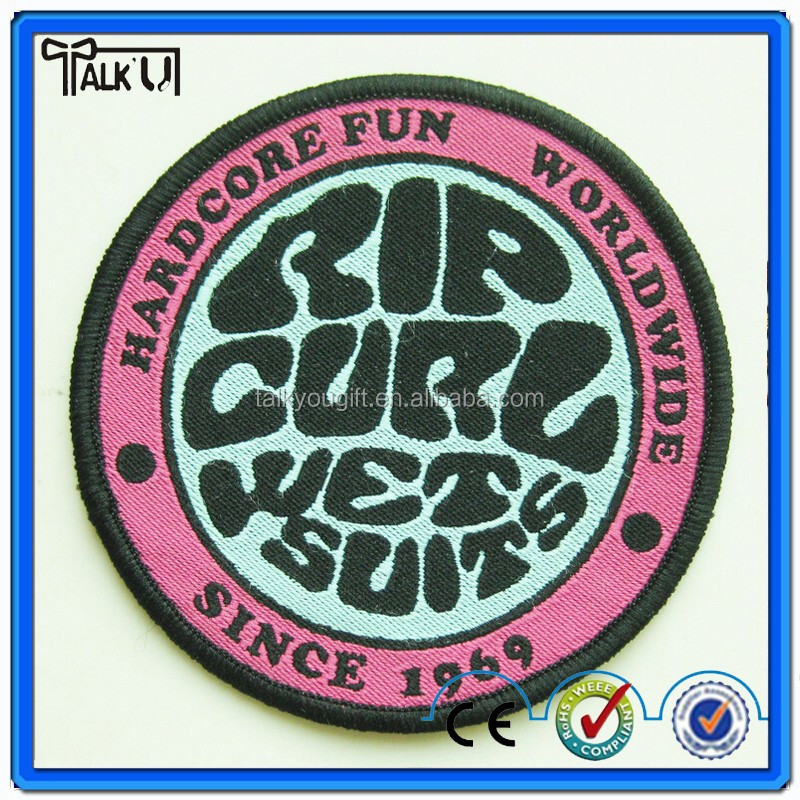 Flocking heat transfer Embroidery Bullion Badge for garment, custom hand Embroidery Bullion Badge