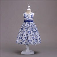 BUENOS 2018 Children Rose Flower Printed Satin Frock Design Girls Party Dress Kids Birthday Party Dress