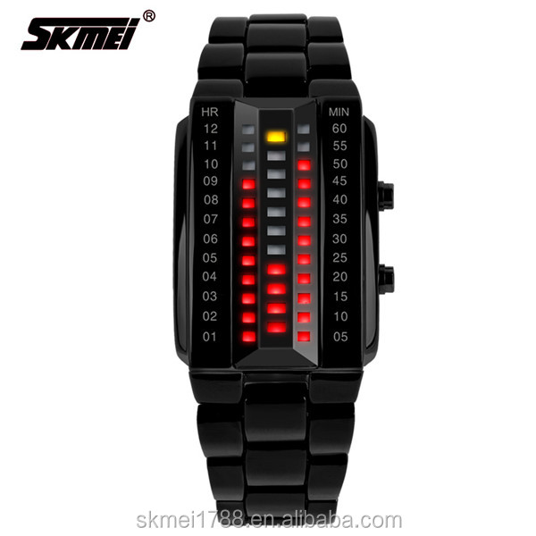 Mens Watches Fashion Blue Light Led Binary Watch Men Sports Digital Electronic Watches Stainless Steel Mesh Band Watch Be Friendly In Use Watches Digital Watches