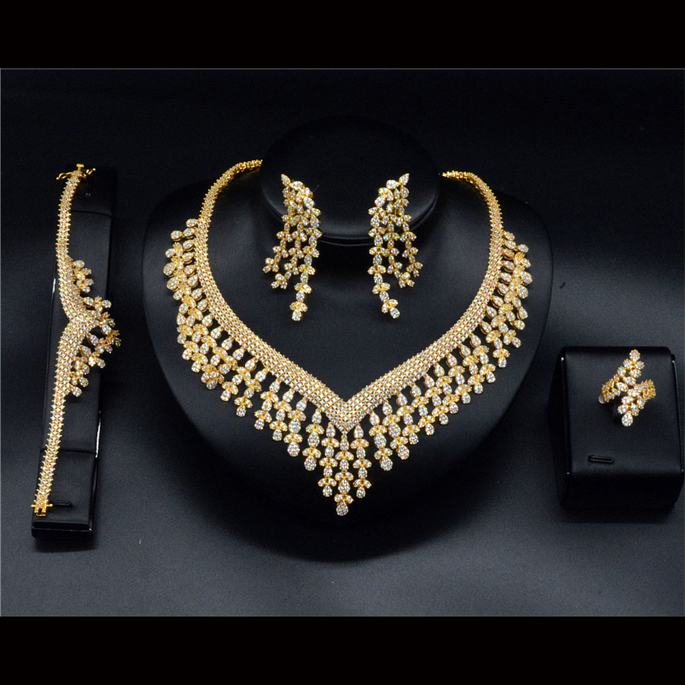 Joyas De Acero Inoxidable Luxury Zircon Jewelry Set Gold Mangalsutra Designs Image фото