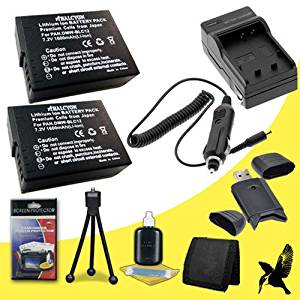 Two Halcyon 1600 mAH Lithium Ion Replacement DMW-BLC12 Battery and Charger Kit + Memory Card Wallet + SDHC Card USB Reader + Deluxe Starter Kit for Panasonic Lumix FZ200 Digital Camera and Panasonic DMW-BLC12