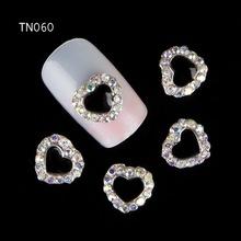 10pcs Black Metal Heart Rhinestones 3d Nail Art Decorations Alloy Nail Stcikers Charms Jewelry for Nail