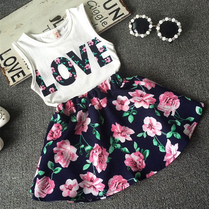 2016 Summer Kids Baby Girls Outfits Casual Tank Tops Floral Skirt Dress Clothing Set 2 7Years