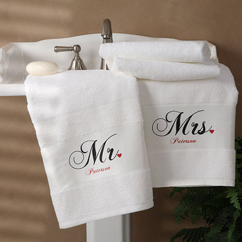 c24119e775e Mr. En Mrs. Collectie Gepersonaliseerde Badhanddoek Set Van 2 - Buy ...