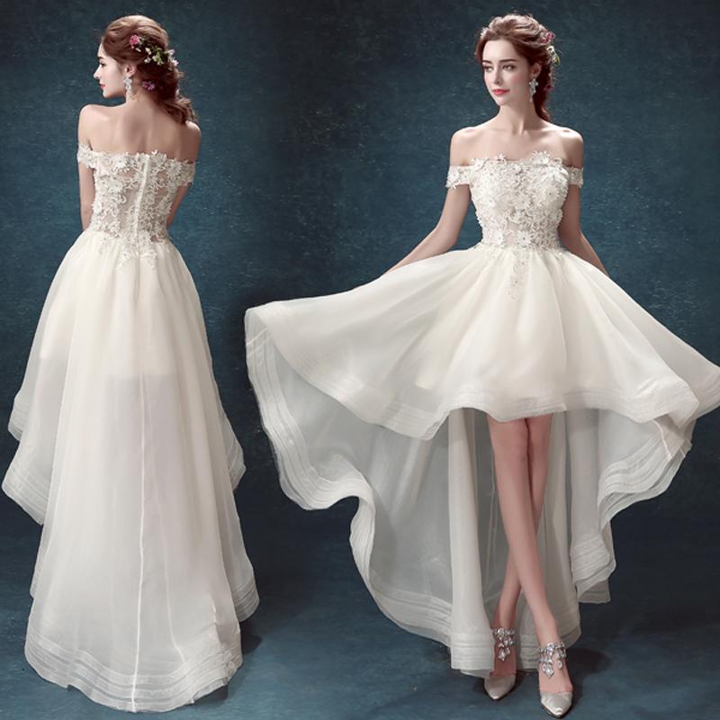 Wedding Dress Short Front Long Back Train Appliques