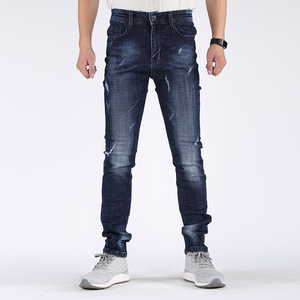 PB-015 OEM service ripped jeans skinny pants stretch denim men sky blue jeans