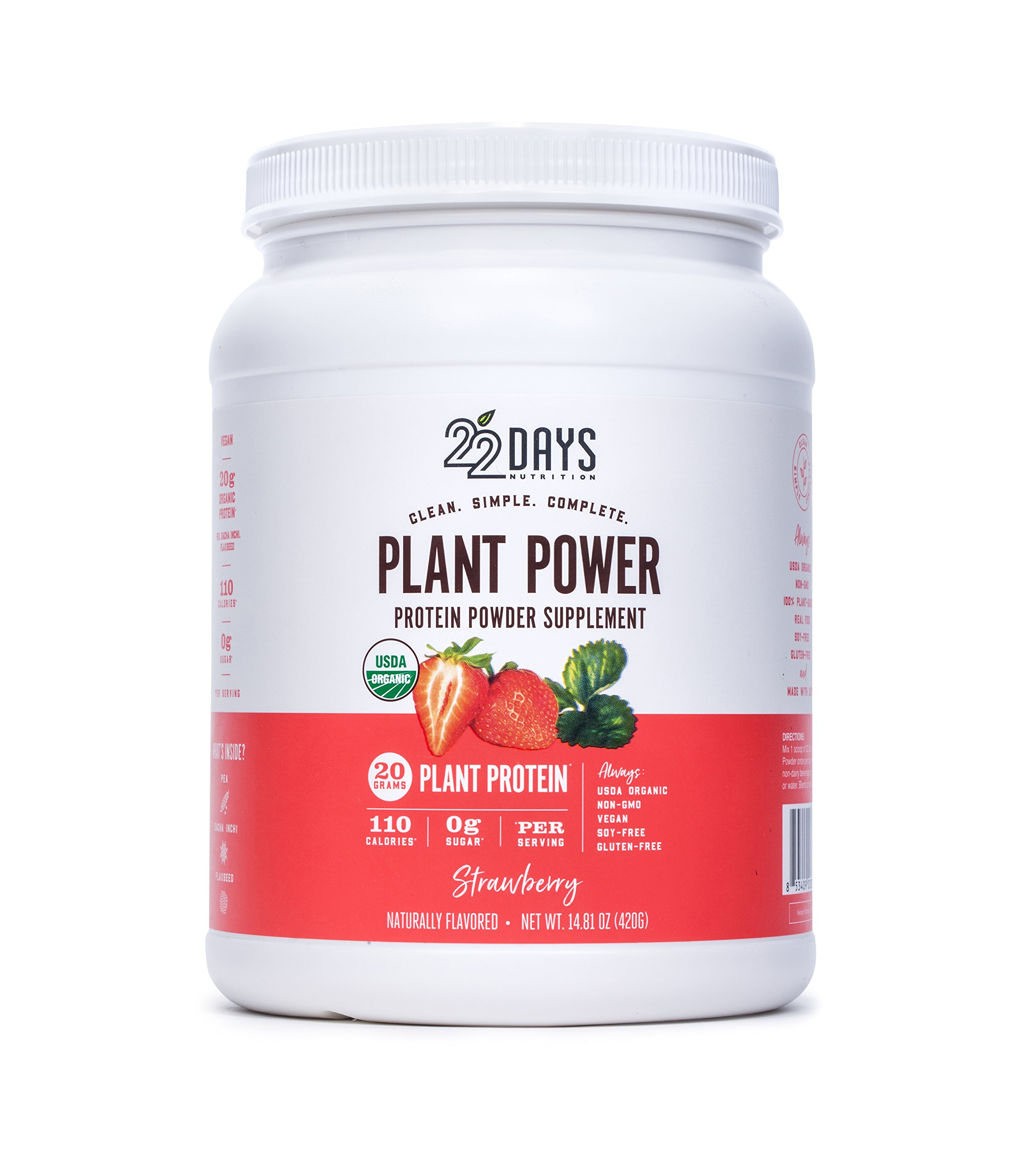 22 Days Nutrition Organic Protein Powder, Strawberry, 14.81 Ounce | Gluten Free, Vegan- Pea, Flax, and Sacha Inchi- Plant Based Protein Powder (20g) - No Added Sugar, Naturally Sweetened with Stevia