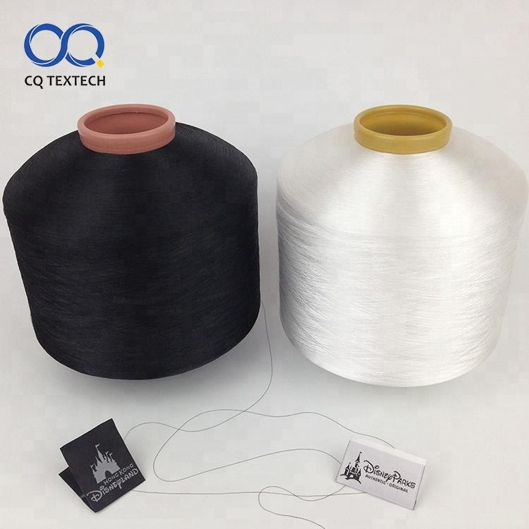 50D/800TPM Optical White Warp dyed polyester yarn for making woven label