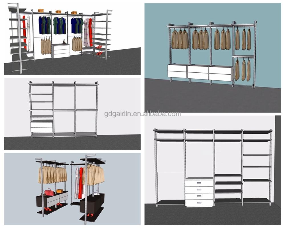 Wardrobe Aluminum Hardware Accessories For Column Cloakroom Series I Shape  Walk In Wardrobe,pole System