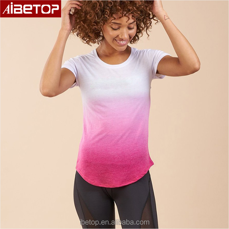 Latest designs white and pink gradient color polyester long tail t shirts woman fitness sportswear